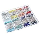 NUOBESTY 800pcs perni testa di perline di vetro multicolore perni per cucire palla per art...