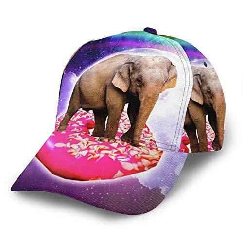 TYUO Unisex 3D Baseball Cap Elefant Riding Donut in Space Rainbow Fashion Snapback Caps Trucker Hüte Outdoor Hut