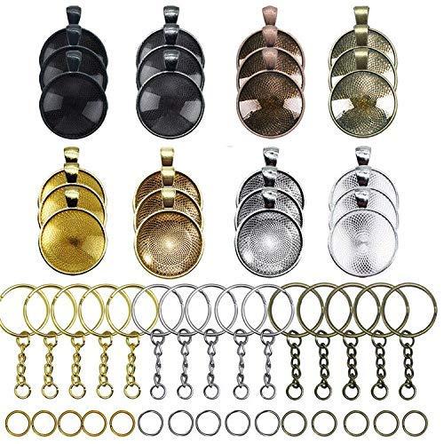 Allazone 24 Stück Anhänger Tablett mit Glas Cabochon Retro Glaskuppel Bastelset 25mm, 15 Stück Anhängerschnalle für DIY Souvenir Bild Medaillon Halskette Geschenk Schmuckherstellung