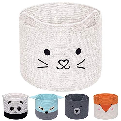 AXHOP Cesta plegable de cuerda de algodón para la colada, cesta de juguetes para niños,...