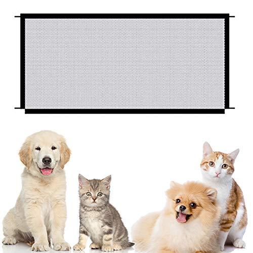 Nesloonp Magic Pet Gate para Perros, Puerta de Malla para Perro, Puerta Plegable portátil para Perro, Guardia de Seguridad para Instalar en Cualquier lugar110 x 72 cm, Color Negro