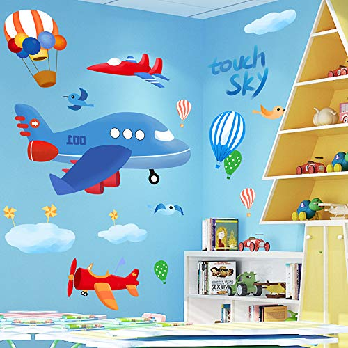Cartoon Vliegtuig Kinderkamer Decoratie Behang Zelfklevende Baby Kamer Creatieve 3d Driedimensionale Muurstickers Wallpaper Stickers Stickers