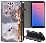 Samsung Galaxy S3 / S3 Neo Hülle Premium Smart Einseitig Flipcover Hülle Samsung S3 Neo Flip Hülle Handyhülle Samsung S3 Motiv (1568 Katze Kätzchen Katzenbabys Grau Weiß)