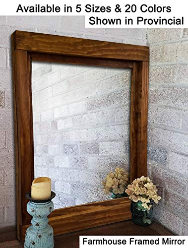 Farmhouse Large Framed Mirror Available in 6 Sizes and 20 Stain Colors: Shown in Provincial - Large Wall Mirror – Rustic Style Home Decor - Housewares - Woodwork