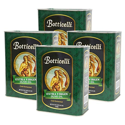 Botticelli Extra Virgin Olive Oil Cold Pressed (Pack of 4) - 100% Unrefined, Pure & Premium Italian Olive Oil for Salad, Cooking, Baking, & Marinades - 67.6 Fl Oz