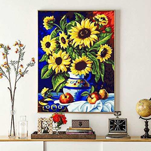 DIY Schilderen op nummer Handgeschilderde zonnebloem kunst vaas frameloze schilderij 40x50cm