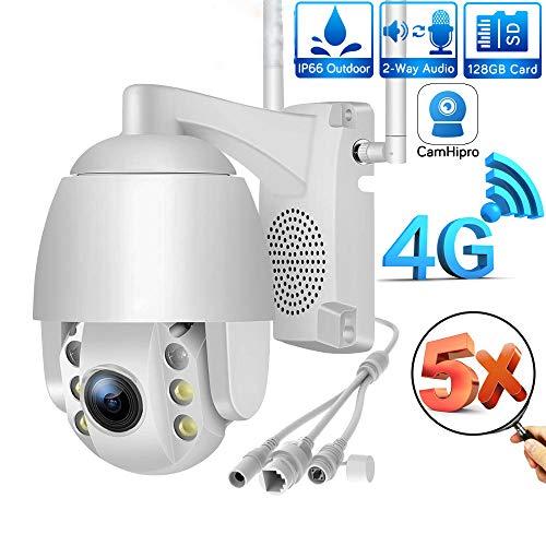 PTZ WiFi dome buitencamera, 1080P IP CCTV-bewakingscamera, 5x optische zoom / IP65 weerbestendig/tweerichtingsaudio/nachtzicht/bewegingsdetectie, ondersteuning ONVIF 2.4