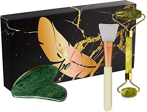 beYou ® Jade Roller [Luxus Edition] Handgefertigt und Hochwertig [inkl. Samt-Beutel und Online Kurs] Gesichtsroller Jade Roller Massagegerät
