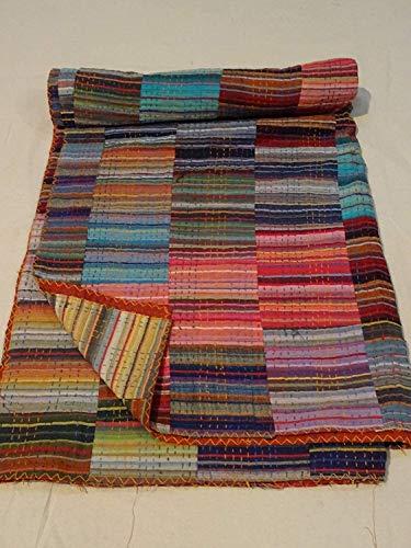 Sophia-Art Indischer Handblockdruck Kantha Quilt Decke Tagesdecke Überwurf Hippie Ethno Rallys Bohemian Baumwolle Sari Bettüberwurf (Multi Patchwork, 228,6 x 274,3 cm)
