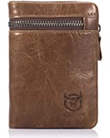 RFID Men's Genuine Leather Wallet, Bifold Multi Card Extra Capacity Wallet with Zippers (Light Brown)