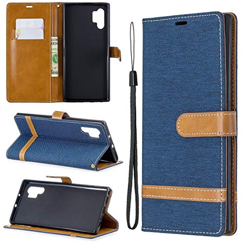 WEIHONG Couleur de la boîte du cuir de tirage Texture de mélangeur Horizontal avec le support et fentes pour cartes et porte-monnaie et sangle de cou pour Galaxy Note 10 + Matching (Royal Blue)