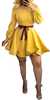 Ophestin Women Off The Shoulder Long Sleeve Bow Tie Stripe Belted Fit and Flare A-Line Skater Mini Short Dress