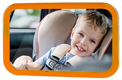 Bixon Baby Safety Mirror Orange – Shatterproof Back-Seat Wide Convex Mirror for Infants; Easy Fitting to Keep Baby in Sight, Clearer View with Allowed Rotation