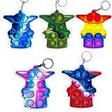 5 Pcs Mini Pop Fidget Simple Dimple Toy,Mini Push Pop Fidget Toy Keychain,Silicona Sensorial Fidget Juguete,Autismo Necesidades Especiales Aliviador del Antiestrés del Juguetes para Niños