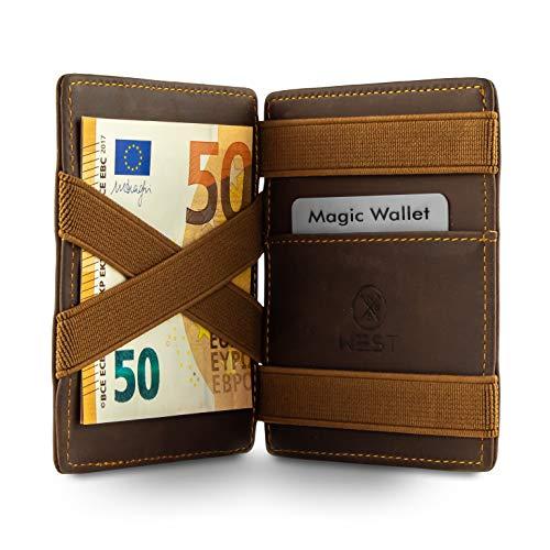 WEST - Magic Wallet (Braun) - Das ORIGINAL (kleines Münzfach) - inklusive Edler Geschenkbox - Geldbeutel mit Münzfach - Der perfekte Begleiter für unterwegs - RFID Datenschutz
