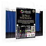 Leepesx Colore 26Pcs / Set Bocetos y lápices de dibujo Lápiz de madera Arte Bocetos Suministros de pintura Set de dibujo