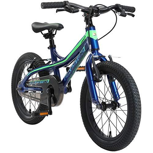 BIKESTAR Kinder Fahrrad Aluminium Mountainbike mit V-Bremse für Mädchen und Jungen ab 4-5 Jahre | 16 Zoll Kinderrad MTB | Blau & Grün