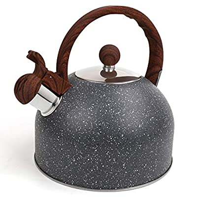 Tea Kettle 2.5 Liters Stainless Steel Whistling Teapot for Stove Top with Anti-heat Wood Pattern Handle (Grey)