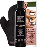 GOLDEN STAR BEAUTY - Self-Tanner with Tanning Mitt - Sunless Tanning Lotion w/Hyaluronic Acid & Organic Oils Gradual Body Bronzer for Light or Medium Tan