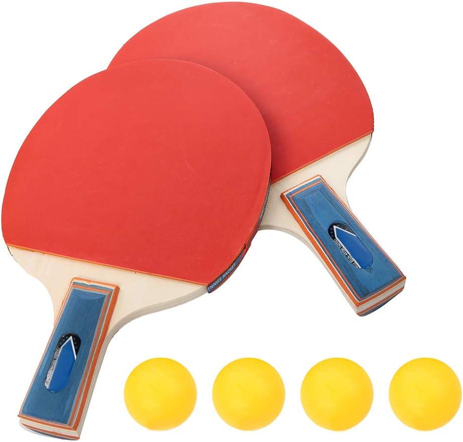 SOONHUA Juego de Tenis de Mesa Raqueta de Ping Pong Profesional Juego de Paletas 2 Raquetas 4 Pelotas Mango Largo Palos de Tenis de Mesa Entrenamiento Duradero Ideal para Niños Adultos