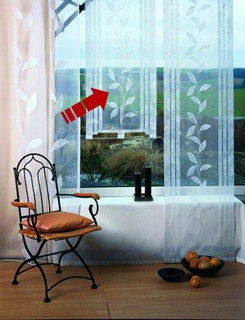 Viora Athen Fensterbehang fertig genäht mit Zierstange zur Beschwerung in Chrom matt Schiebegardine Flächenvorhang Stickerei (140 cm hoch / 80 cm breit)