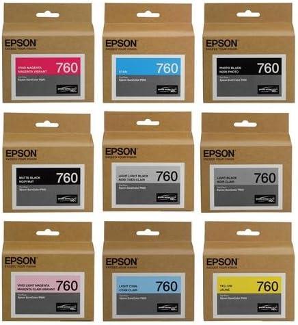 Epson T760 Ultrachrome HD Ink Set for SureColor P600 Printer - HD Black (Photo/Matte/Light/Light-Light), HD Cyan, HD Magenta (Vivid/Vivid Light), HD Yellow, HD Light Cyan, Museo Silver Rag Sampler