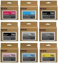 Epson T760 Ultrachrome HD Ink Set for SureColor P600 Printer - HD Black (Photo/Matte/Light/Light-Light), HD Cyan, HD Magenta (Vivid/Vivid Light), HD Yellow, HD Light Cyan,