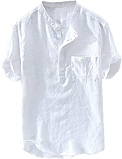VPASS Hombre Camisetas, Camiseta para Hombre,Verano Algodón y Lino Manga Corta Color sólido Moda Casual Suelto T-Shirt Blusas Camisas Polo Camiseta Cuello en v Suave básica Camiseta Top vpass