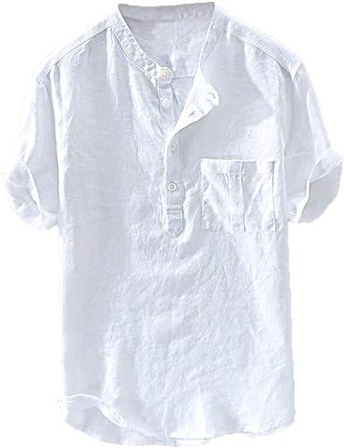 Camisa de Lino para Hombre de Verano de algodón Puro con botón y Mangas Cortas