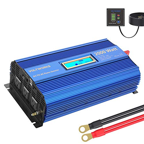 Power Inverter 2000w DC 12V to AC 120V Modified Sine Wave Inverter with LCD Display Remote Control 3AC Outlets Dual 2.4A USB Ports for Car RV Truck Boat by VOLTWORKS