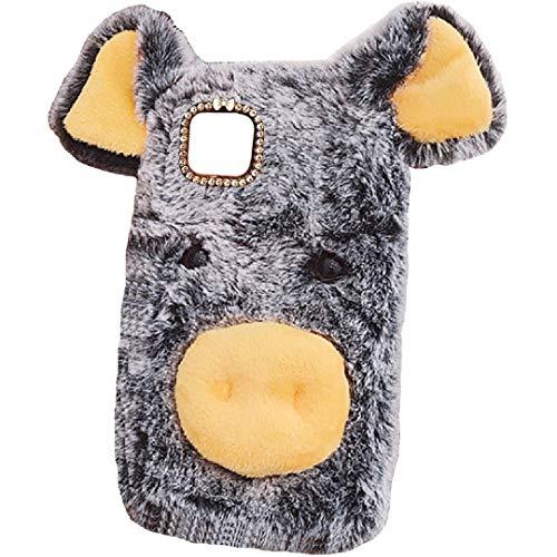 Funda para Huawei 2020 Y5P/Y5Prime/Honor9S, hecha a mano esponjosa de lana de cerdito Villi linda cola de bola, cubierta suave y cálida, hermosa especial para Huawei Honor 9S DGray