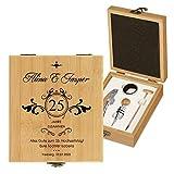 Murrano Weinöffner-Set personalisiert Weinset Sommelier Set - Geschenkbox Holzbox + 4er Weinzubehörset - aus Bambus - Braun - Geschenk Hochzeit Hochzeitstag Paar (Zusammen)