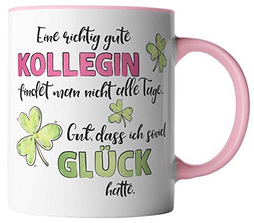 vanVerden Tasse - Eine richtig gute Kollegin findet man nicht alle Tage. Gut, dass ich soviel Glück hatte. - beidseitig Bedruckt - Geschenk Idee Kaffeetassen, Tassenfarbe:Weiß/Rosa