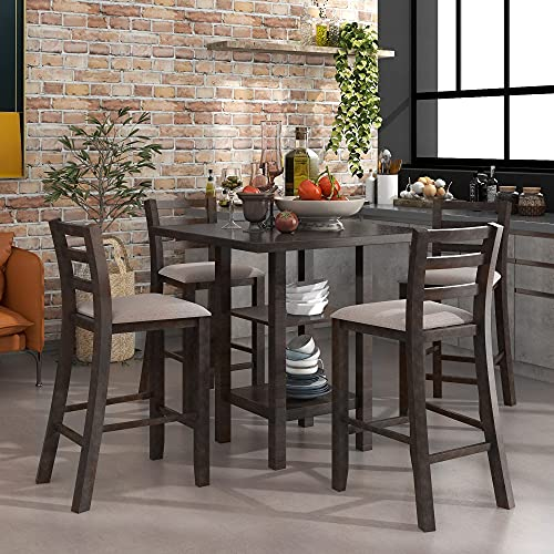 5 Piece Dining Table Set Wood Counter Height Dining Set Square Kitchen Table with 2-Tier Storage Shelf and 4 Padded Chairs, Espresso and Gray