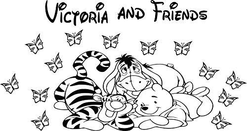 Autocollant mural personnalisable motif Winnie l'ourson et ses amis Porcinet, Bourriquet, Tigrou et des papillons pour chambre d'enfant