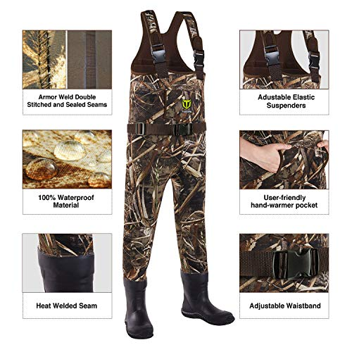 TIDEWE Chest Waders for Toddler & Children, Neoprene Waterproof Insulated Hunting & Fishing Youth Waders for Boy and Girl, Cleated Bootfoot Kids Wader, Realtree MAX5 Camo (Size 10)