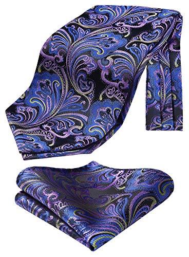 HISDERN Krawattenschal Herren lila blau grun Paisley Halstuch Blumen Elegant Hochzeit Business Ascot Krawatte und Einstecktuch Set