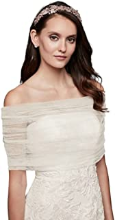 Pleated Tulle Off-The-Shoulder Wrap Style OW2102