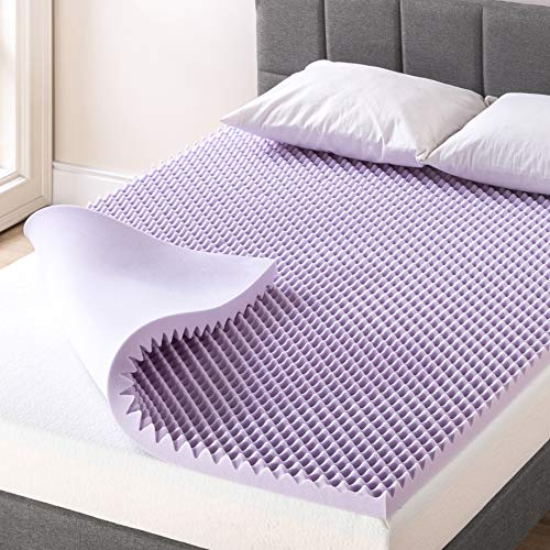 Best Price Mattress 2 Inch Egg Crate Memory Foam Mattress Topper with Soothing Lavender Infusion, CertiPUR-US Certified, Short Queen