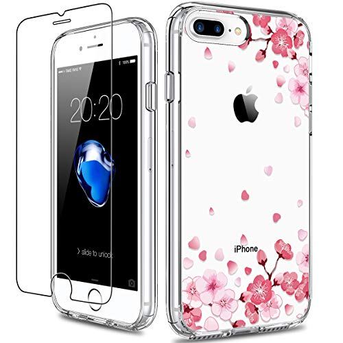 GiiKa iPhone 8 Plus Case, iPhone 7 Plus Case with Screen Protector, Clear Heavy Duty Protective Case Floral Girls Women Hard PC Case with TPU Bumper Cover Phone Case for iPhone 8 Plus, Pink Floral