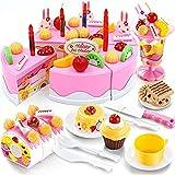 KCSds 75 PCS juego de la cocina los alimentos for los niños Funning corte DIY fiesta de cumpleaños de la torta de Juguetes Set Velas Frutas del partido del postre juguete Playset educativos for la pri