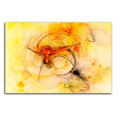 Augenblicke Wandbilder Abstrakt233Abstrakt Leinwand Wandbild Kunstdruck 100x 70cm: fertig rot, orange, gelb, beige, schwarz