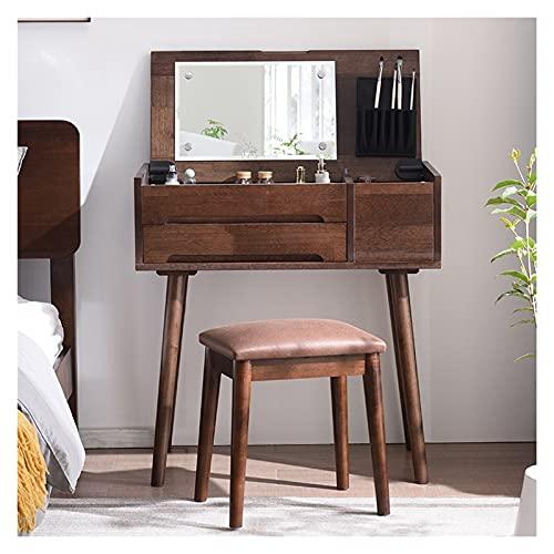 guoqunshop Set da toeletta Vanity Set con tavolino da tiro a Specchio a Flip Top Trucco Scrittoio con Sgabello Imbottito Easy Assembly toletta Bianca