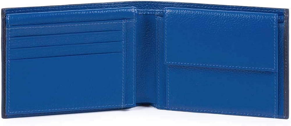 Piquadro splash, portafoglio, porta carte di credito, porta documenti, in pelle, blu/giallo 14 cm PU1392SPLR/BLG