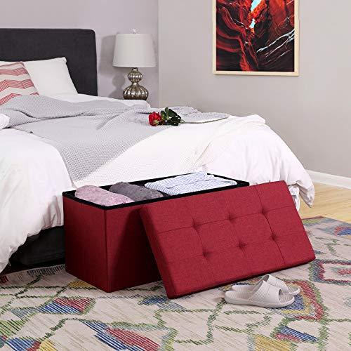 SONGMICS Sitzbank mit Stauraum, Truhe mit Deckel, faltbares Sitzmöbel, Bett, Schlafzimmer, Flur, platzsparend, 80L Fassungsvermögen, stabil bis 300 kg, gepolstert, rot LSF47RD - 4