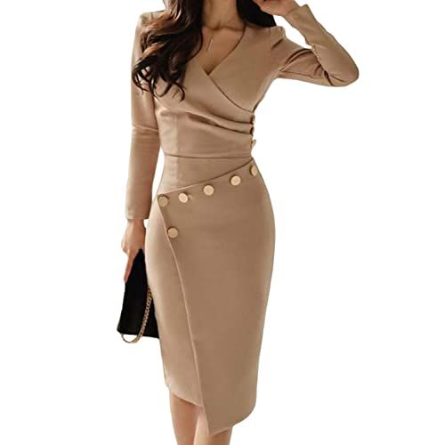 853cc08028c Asvivid Women Vintage V-Neck Breasted Pencil Dresses Work Business Cocktail  Party Bodycon Size 8