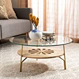 Safavieh Home Flora Natural and Brass Glass Top Round Coffee Table