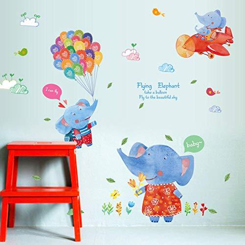 Ballon Olifant Kinderen Muurstickers voor Kids Kamers Kwekerij Baby Slaapkamer Decals DIY Home Decor Zelfklevende Film