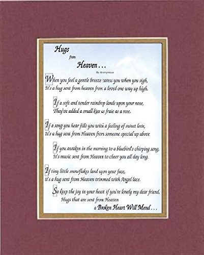 GoodOldSaying - Poem for Inspirations - Hugs from Heaven Poem on 11 x 14 inches Double Beveled Matting (Burgundy)