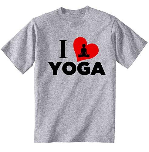 teesquare1st Yoga I Love Yoga Camiseta Gris para Hombre de Algodon Size Xxxxlarge